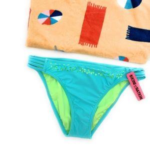 4/$25 Bikini Nation Blue Solid Bikini Bottom NEW